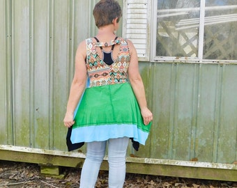 funky Swamp Pop patchwork Dress - upcycled clothing women's clothing tattered and raw artsy cltohing by CreoleSha