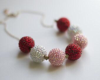 Valentines Day sparkle drop down beaded bubblegum necklace.