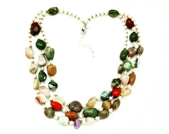 Triple Strand Gemstone and Pearl Necklace
