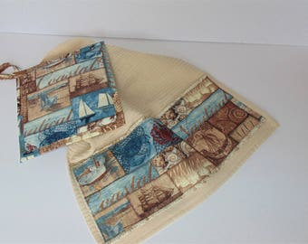 Bar Towel and Potholder Set, Nautical Themed Kitchen set, Housewarming Set