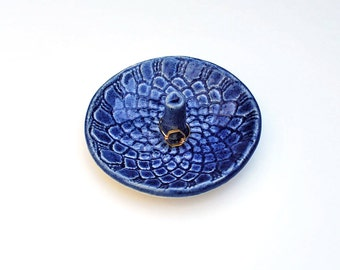 Blue Ring Holder - Lace Pattern - Ceramic, Pottery, Handmade - Ring Dish, Jewelry Dish, In Stock, Lauren Sumner Pottery - Gifts for Her