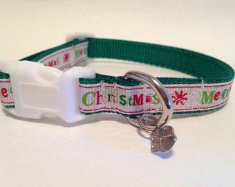 Extra Small Merry Christmas Holiday dog collar