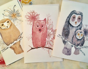 set of 3 greetings cards and envelopes