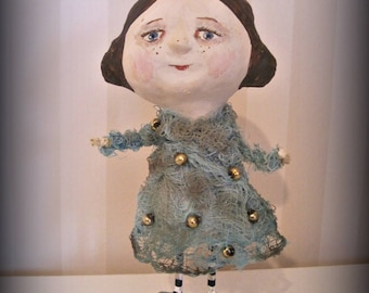 Little doll - clay art doll-paper mache - OOAK doll- handmade art doll- folk art