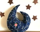 moon pillow, moon decor, moon plush, stuffed moon, glow in the dark constellation, glow in the dark
