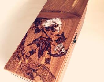 Ajani, Magic the Gathering, MTG altered art, CCG Art Box, Plainswalker, Cedar Wood, Wood Burned, MTG accessory box, Deck Box, Gamer Gift Box