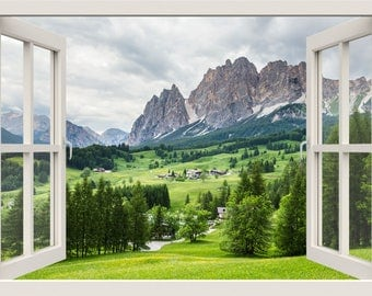 Mountain Wall Decal, 3d Window Wall Decal, Nature Wall Decal, Window Frame, Window View Wall Mural, Living Bedroom Room Home Wall Decor