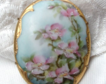 Vintage Hand Painted Brooch, Blue/Pink Floral Brooch, Jewelry Gift for Her, Victorian Style, Limoges Style