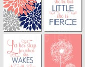 Girl Nursery, Kids Wall Art, Coral Navy Gray, Toddler Girl Room, Let Her Sleep, And though she be but little, Set of 4 Prints or Canvas