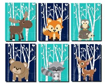 Woodland Nursery, Woodland Wall Decor Kids, Teal, Gray, Forest Animals Wall Art, Kids Wall Art, Fox, Deer, Moose, Set of 6 Prints or Canvas