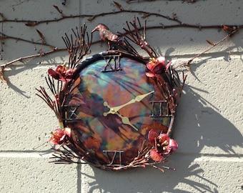 Copper Bird & Flower Clock