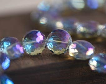 50pcs Crystal Glass Faceted Round Coin Beads 14mm Sparkly Blue Purple- (TS05-2)