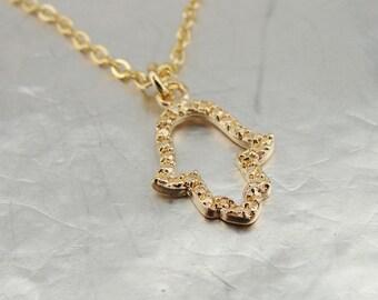 Hamsa Gold filled Pendant, 14k Gold Filled Pendant, Delicate Pendant, Bat Mitzva Gift, Gold Pendant, Israel Jewelry, Kabbalah Jewelry