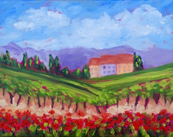Modern Impressionist Original Oil Italian Tuscan Vineyard Poppy Landscape Painting by Rebecca Croft