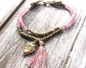 Multi Strand Pink Quartz and Gold Pyrite Gemstone Bracelet with Arrowhead Charm and Silk Tassel