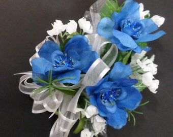Wrist Corsage - Silk Blue Flower Corsage - Floral Corsage - Prom Corsage