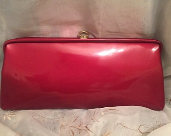 Vintage Red Patent Leather Clutch Handbag Preppy Chic Classic Fashion Style