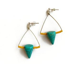Silver Turquoise Earrings, Turquoise Dangle Earrings,Geometric Spike earrings