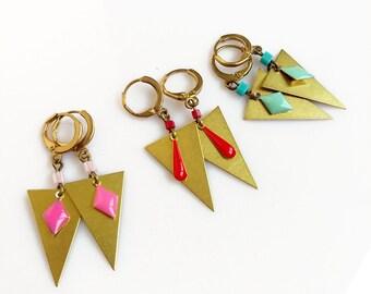 Triangle Earrings, Geometric Dangle Earrings, Simple Geometric Boho Earrings