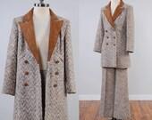 Vintage 70s ladies tweed suit jacket and bellbottom pants set / Suede trim / Annie Hall style suit by The Villager