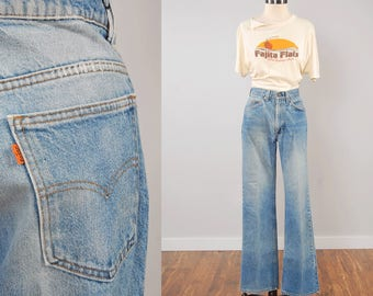 Vintage 70s orange tab LEVIS jeans / Perfectly faded and worn in / Classic 5 pocket boot cut jeans / 30 waist x 31 inseam