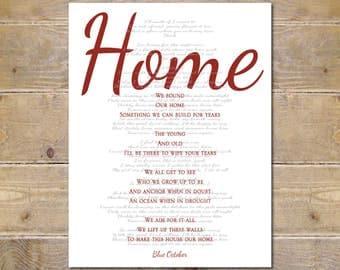 Blue October, Blue October Lyrics, Home Lyrics, Home, Blue October Home Lyrics, Wall Decor, Song Lyrics Prints, Custom Print, Wall Art