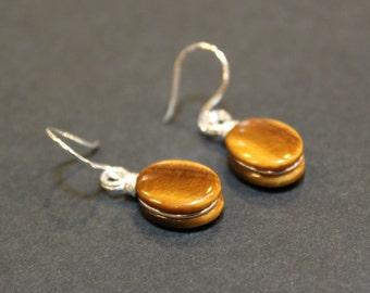 Golden Tigers Eye Gemstone Sterling Silver Handmade Minimalist Earrings