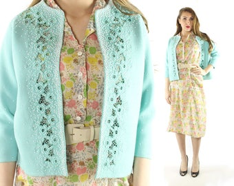 Vintage 60s Beaded Cardigan Sweater Open Cutout Work Floral Wool Knit 1960s Large L Aqua Blue Turquoise Rockabilly Pinup