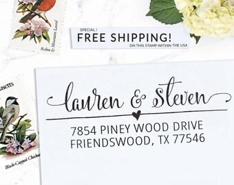 Custom Address Stamp, Return Address Stamp, Wedding address stamp, Calligraphy Address Stamp, Self inking or Eco Mount stamp - Lauren