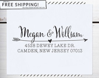 Custom Address Stamp, Personalized Address Stamp, Arrow Stamp, DIY, Boho Wedding Address Stamp, Eco Mount or Self Inking - Cavillo