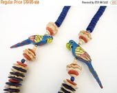 ANNIVERSARY SALE Vintage Blue Parrot Wood Necklace with Orange, Cream and Blue Wood Beads 24 Inches