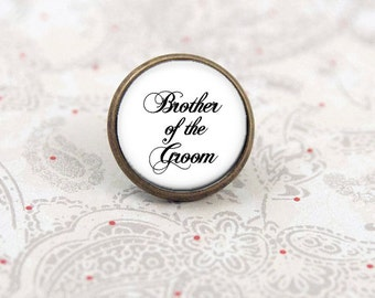 Brother of the Groom Tie Tack, Tie Pin, Wedding Lapel Pin, Boutonniere Pin, Brooch