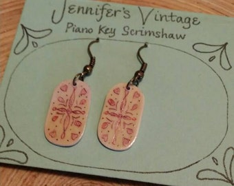 Scrimshaw Earring Set Lovely Red Designed Panel OOAK Great Gift Idea