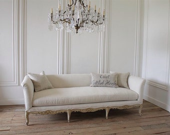 Antique painted French country Louis XV style sofa in Irish linen
