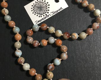 Impression Jasper hand knotted Necklace