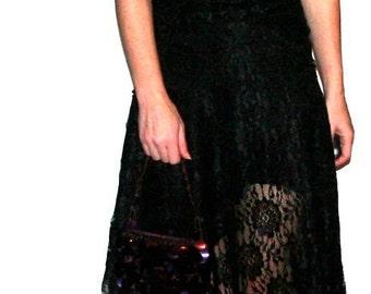 Gorge Gorge Delicate Vintage Black Lace Dress- Size US 2/XS