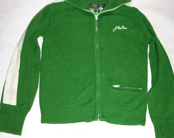 Cool Sporty Retro Vibes Cotton Zip-up Kelly Green Cardigan- Size M