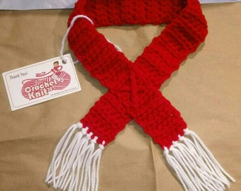 Red and White Crochet Dog Collar, Scarf With Fringes, Scarf For Dog, Fringes Scarf for Dog, Gift for Dog, Dog Holiday Scarf