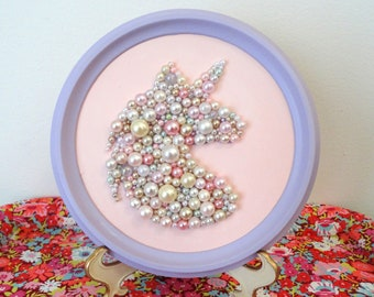 Unicorn Wall Art - Pink , Purple Pearl Nursery Art - Mosaic Unicorn Picture - Bead Wall Hanging - Silhouette Head Profile - Round Framed Art