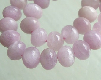 1/2 Strand, Approx. 7.5x5mm, AA+ Natural Kunzite Smooth Rondelle Beads