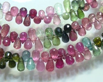 20% off, 1/2 Strand 5 Inch, 6-7mm, Gorgeous Sparkling Tourmaline Faceted Lovely Tear drop Briolettes