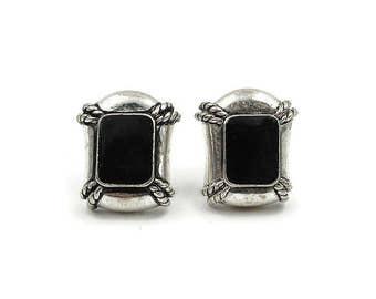Vintage Avon Silver Metal Black Enamel Nautical Clip Earrings - Vintage Earrings, Silver Earrings, Avon Earrings