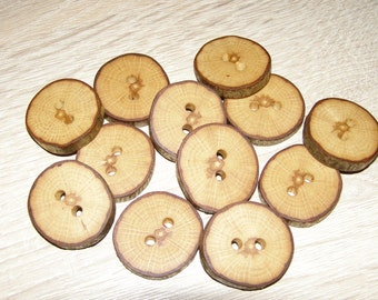 "12 Handmade oak wood Tree Branch Buttons with Bark, accessories (1,1"" diameter x 0,20"" thick)"