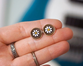 Floral Leather Stud Earrings - READY TO SHIP - Bright Silver Posts - Hand painted leather jewelry - Daisy Daisies