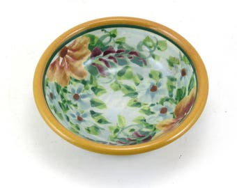 Blue Porcelain Dish - Handmade Shallow Pottery Bowl - Use for Jewelry, Candy, Cat Bowl, or Soap- Floral Design and Yellow Trim