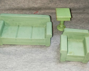 REDUCED Doll House Furniture, Strombecker,Living Room, Sofa, Chair and Table, Wood, Green