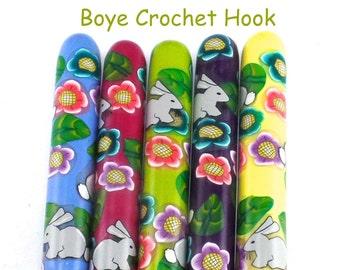 Crochet Hook, Polymer Clay Covered Boye Crochet Hooks, Custom Crochet Needle, Happy Bunnies, Rabbit, Easter