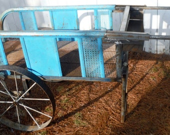 "Vtg Iron Cart with Wheels for Flower cart or Street vendors - Local Pickup or personal delivery ""depends on location"" (20 % DISCOUNT APPLIED"
