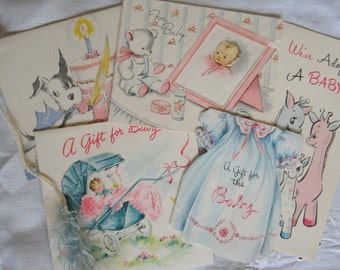 Vintage Lot 1930's 1940's Baby Congratulations Cards