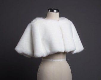 Pure White Fur Bridal Caplet-CC1654